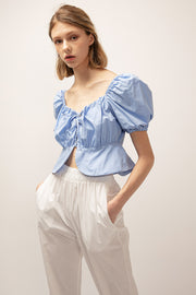 Ivy Puff Sleeve Lace Up Top