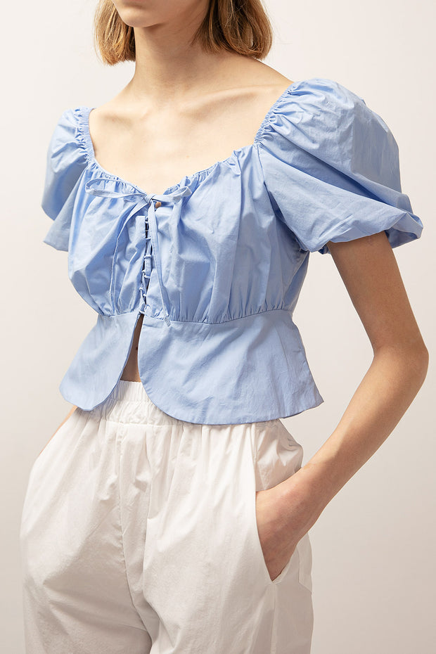 storets.com Ivy Puff Sleeve Lace Up Top