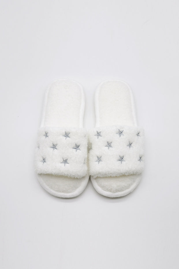 storets.com Star Embroidered Fuzzy Slides