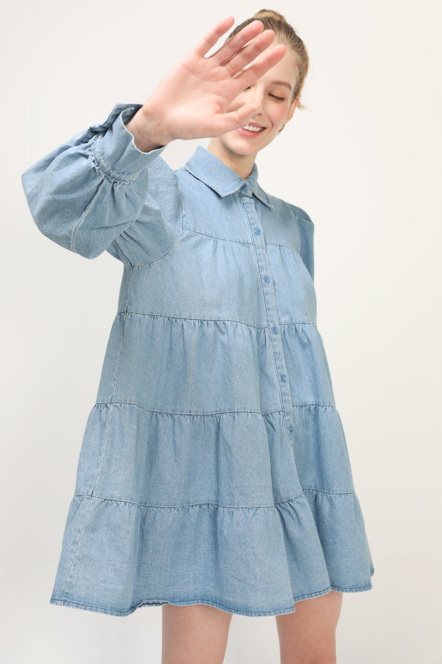 storets.com Reese Denim Tiered Dress