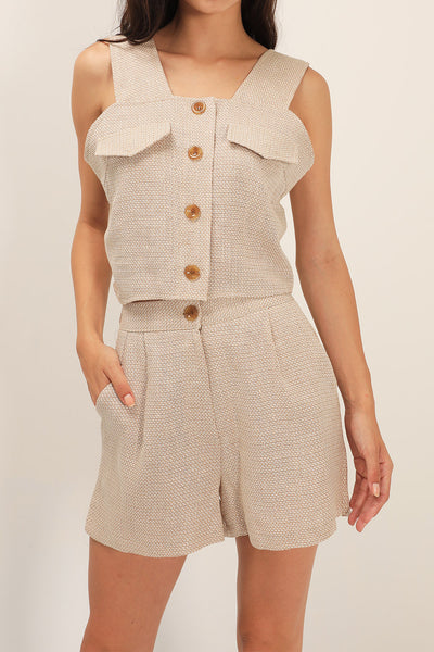 Iva Linen Sleeveless And Shorts Set