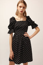 Emily Square Neck Polka Dot Dress