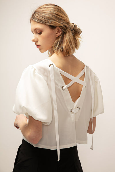 Zoey Eyelet Back Crop Blouse