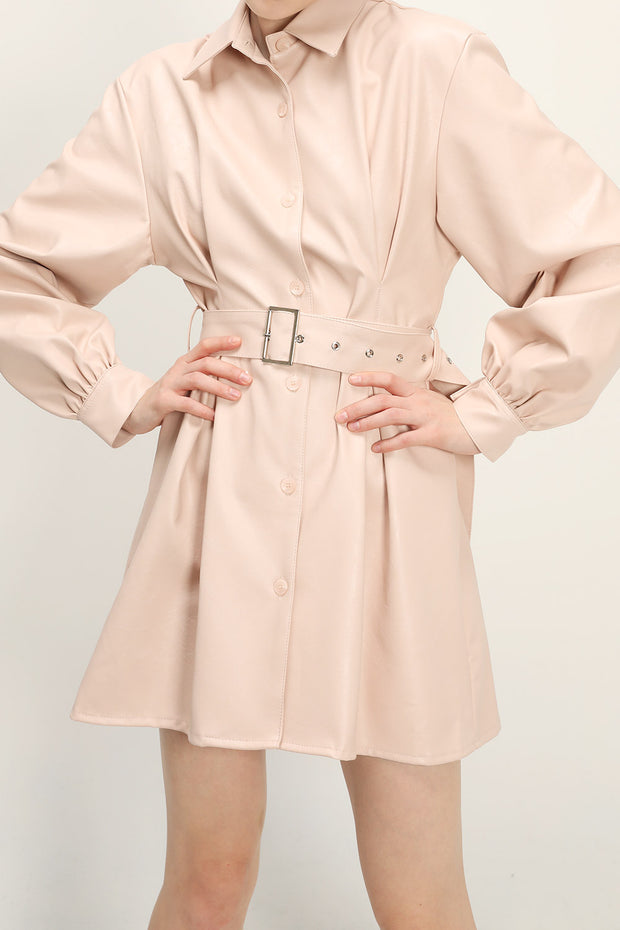 storets.com Trinity Pleather Belt Shirt Dress