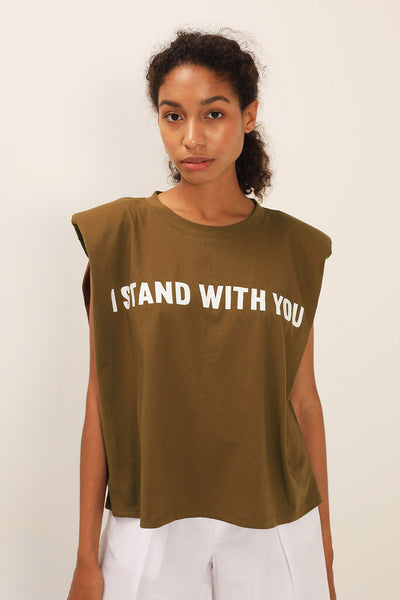 I Stand With You Padded Shoulder Muscle Top