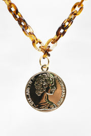 Coin Pendant Acrylic Chain Necklace