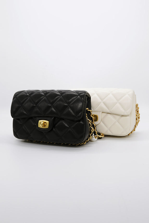 Quilted Pleather Mini Chain Bag