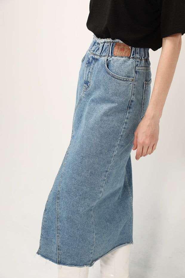 storets.com Alice Denim Front Slit Skirt