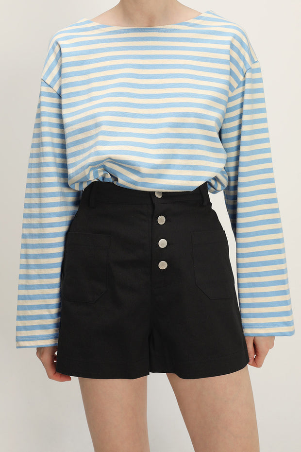 storets.com Victoria Buttoned High Waisted Shorts