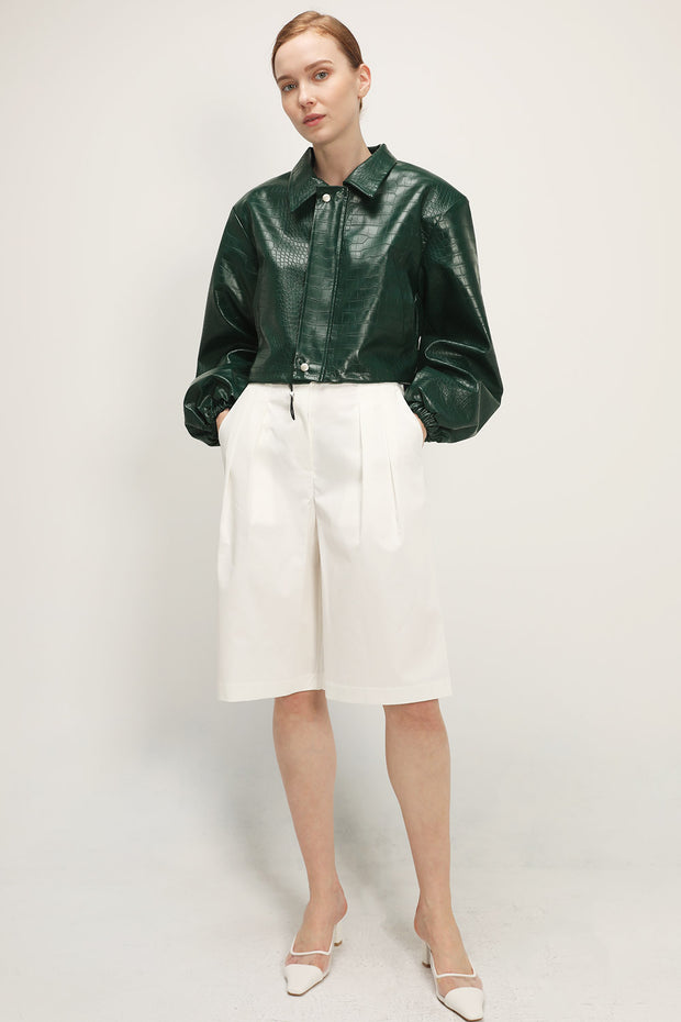 Georgia Croc Pleather Cropped Jacket