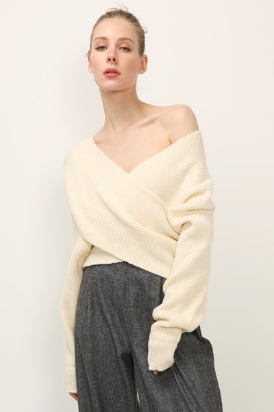 storets.com Rebecca Ribbed Wrap Sweater