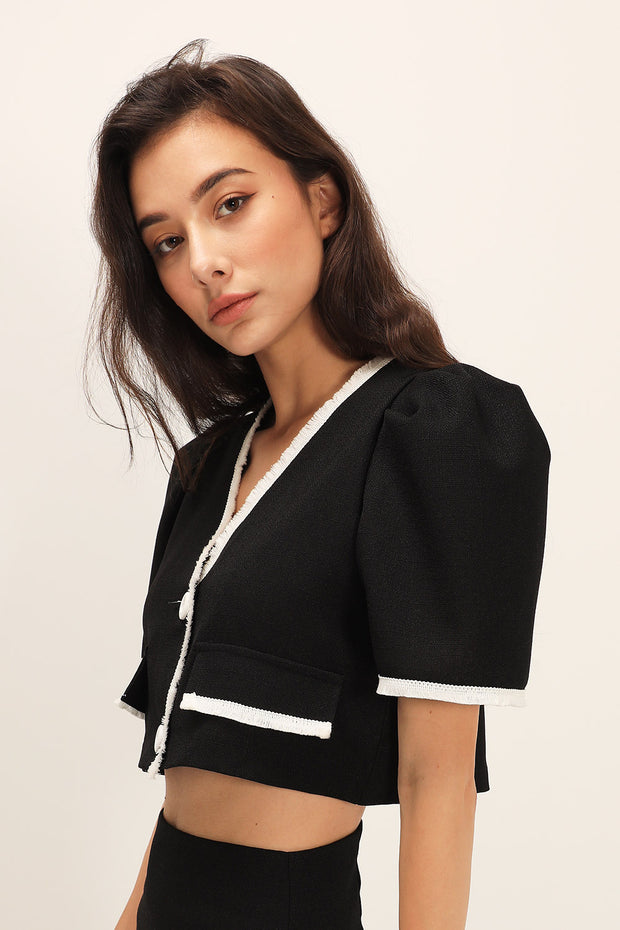 Belle Contrast Trim Puffed Jacket