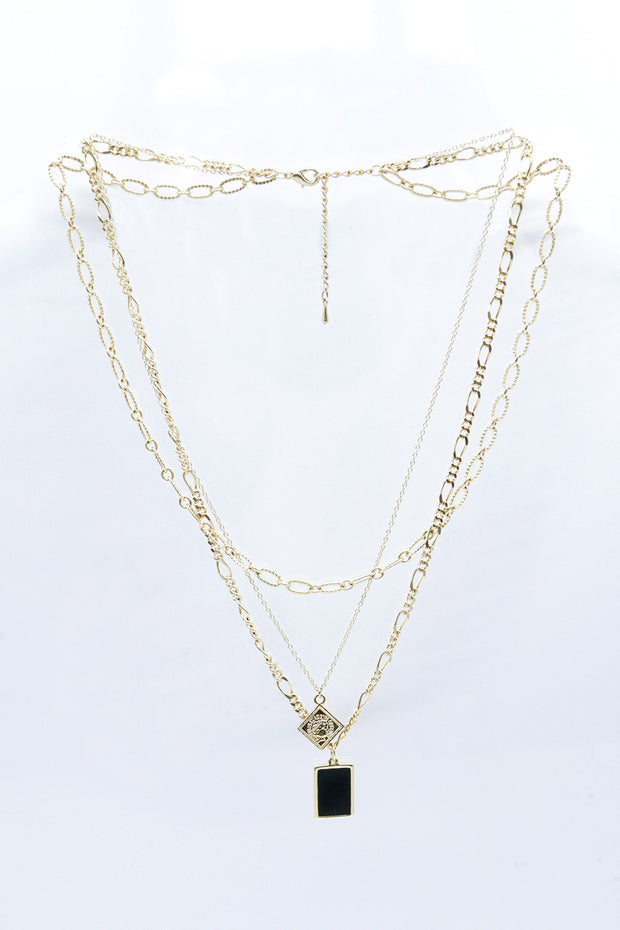 Multi Chain Necklace w/Square Pendant