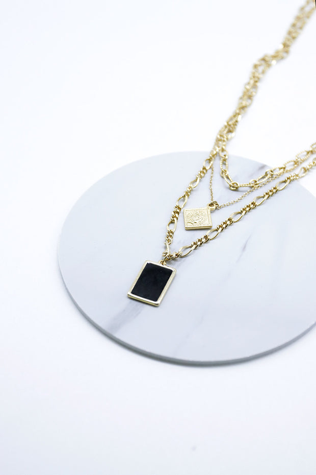 storets.com Multi Chain Necklace w/Square Pendant