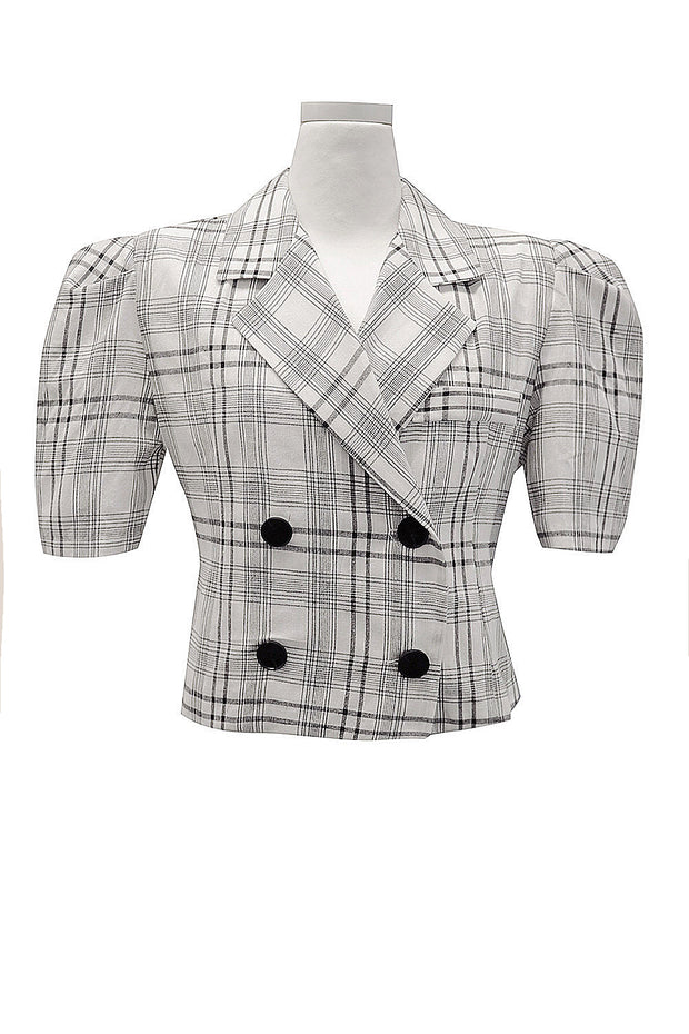 Olivia Plaid Cropped Jacket