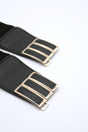 storets.com Golden Buckle Accent Elastic Belt