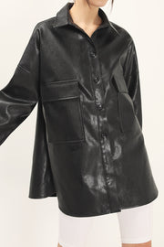 storets.com Ryann Pleather Oversized Jacket