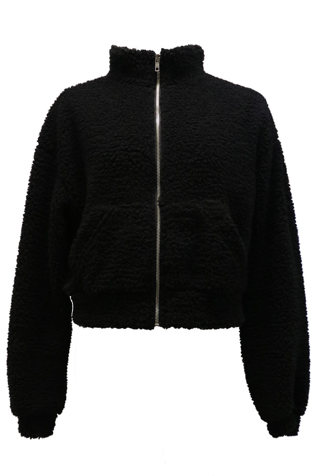 storets.com Paula Cropped Borg Zip Up Jacket