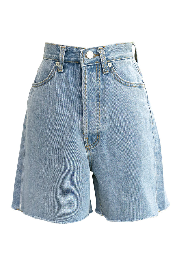 Phoebe Frayed Hem Denim Shorts