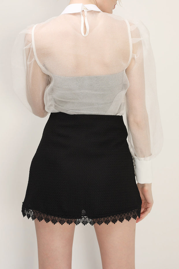 storets.com Ava Jeweled Organza Blouse