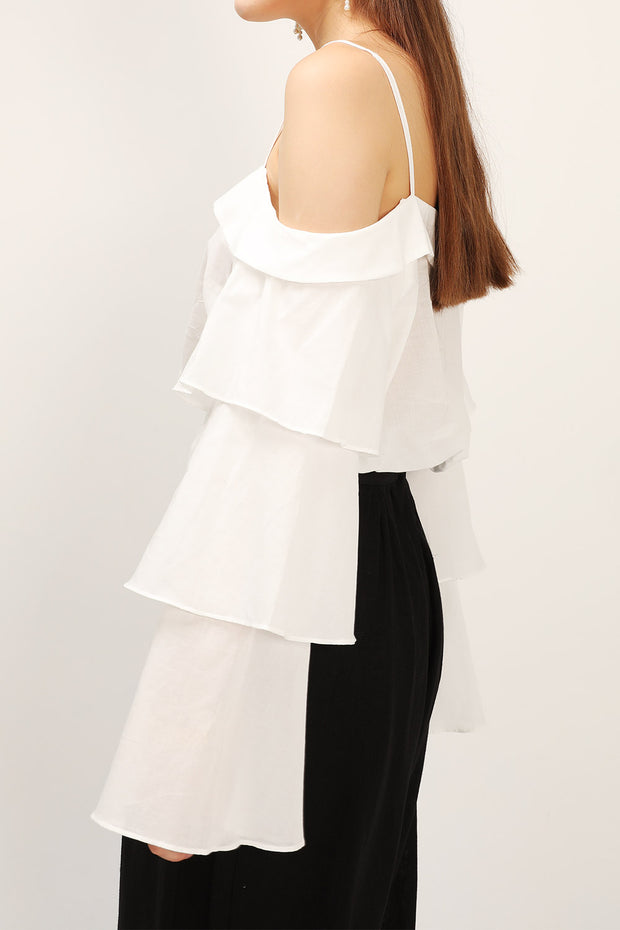 storets.com Bella Tiered Ruffle Sleeve Top