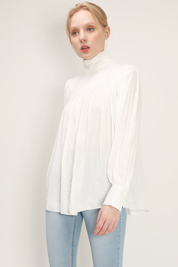 storets.com Evelyn Balloon Sleeve Ruched Blouse