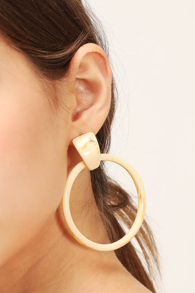 storets.com Marble Hoop Statement Earrings