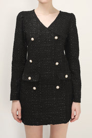 storets.com Ivy Tweed Button Detail Dress