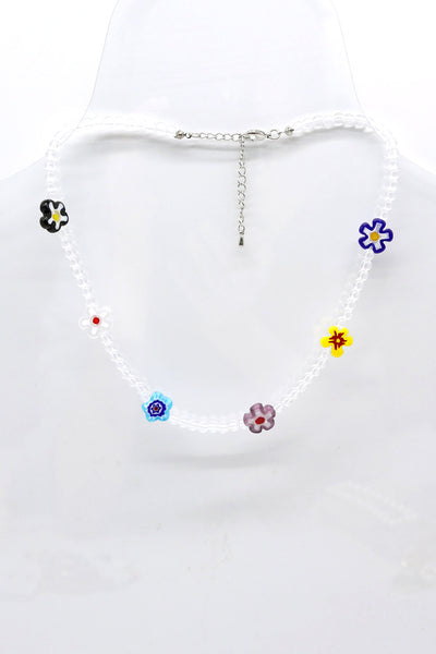 storets.com Flower Beaded Choker Necklace