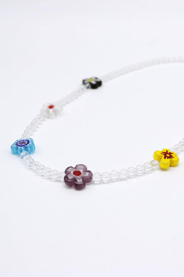 Flower Beaded Choker Necklace