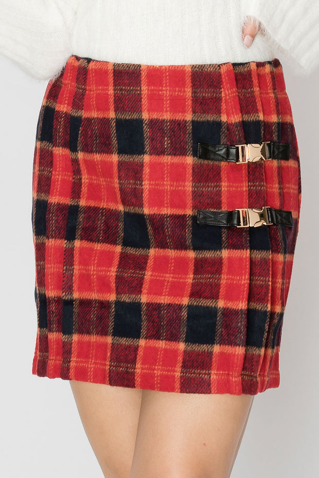 storets.com Lola Buckled Plaid Skirt