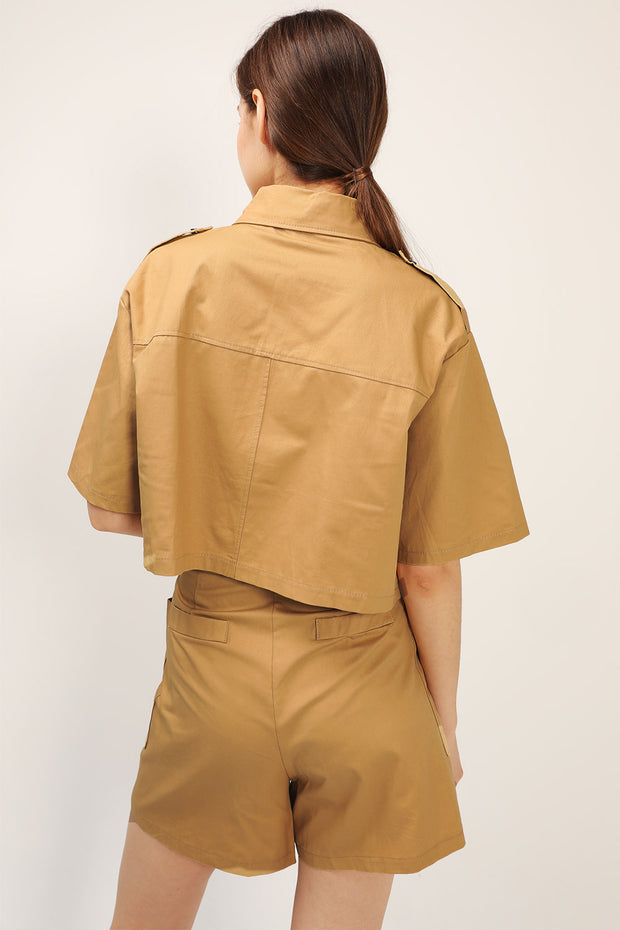 storets.com Raina Cargo Jacket And Shorts Set with belt