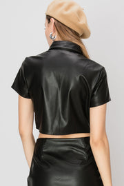 Miri Pleather Collared Shirts
