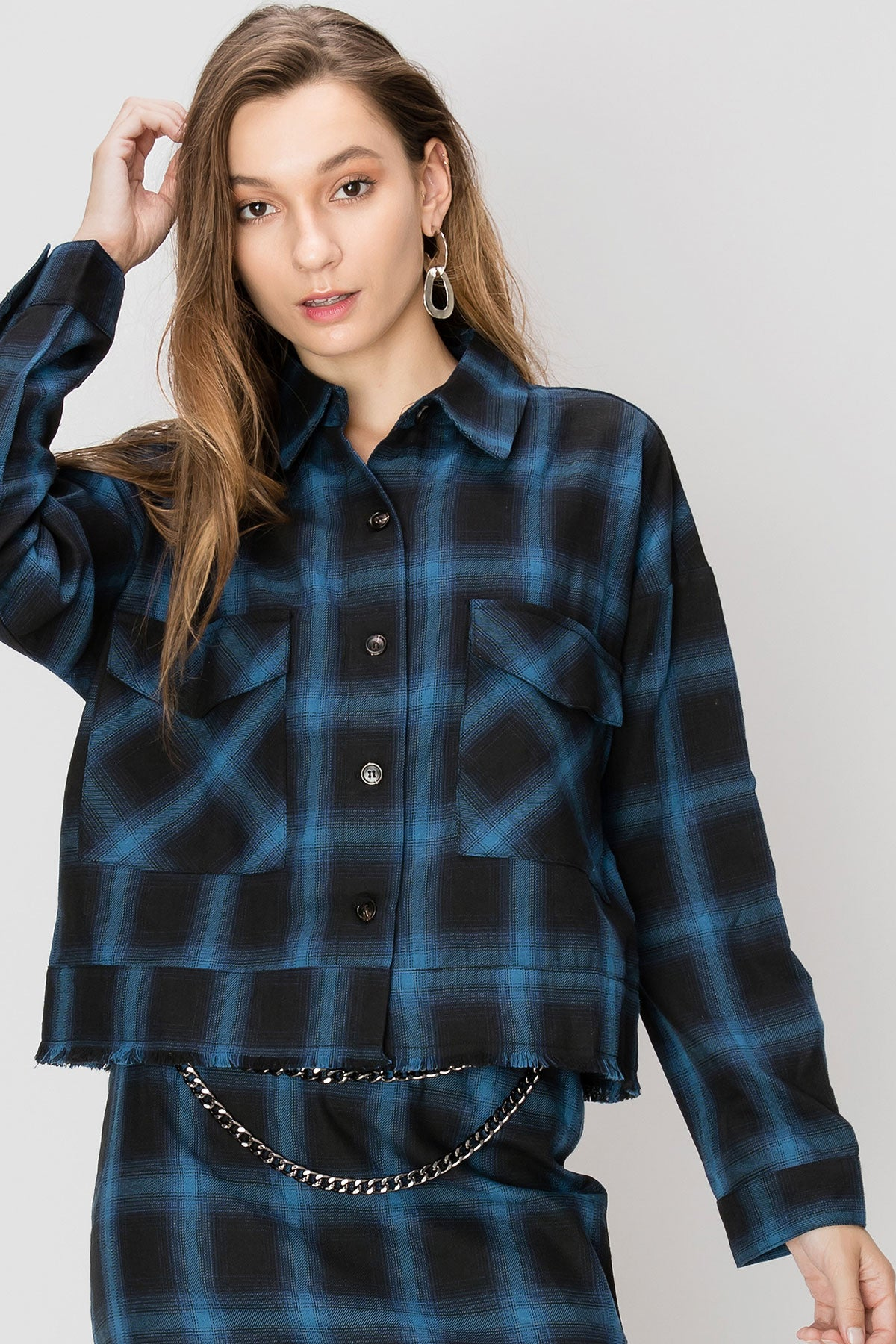 Abby Blue Plaid Jacket