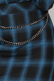 Storets Abby Blue Plaid Chain Skirt