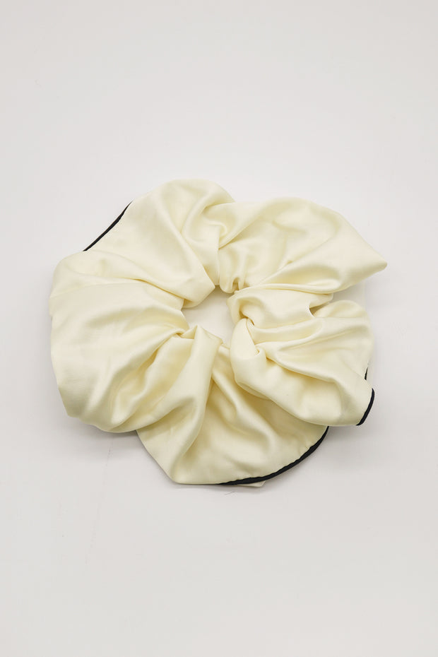 Contrast Trim Satin Scrunchie