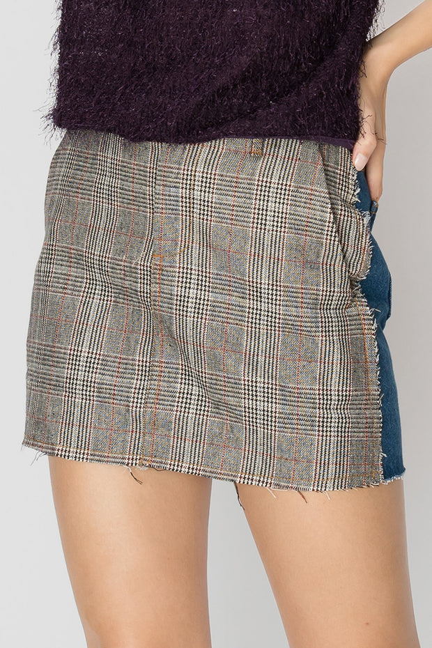 Paige Neutrality Plaid Skirt
