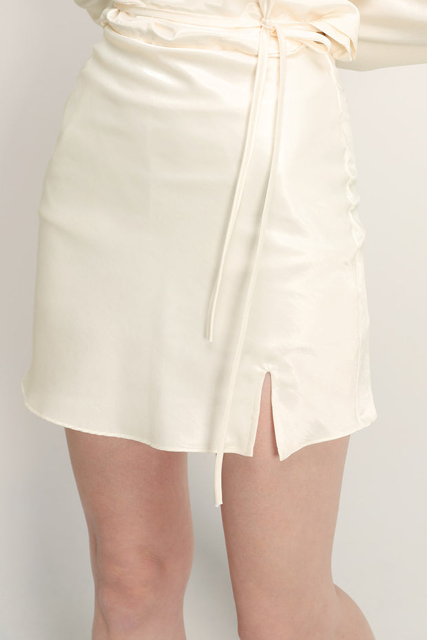 Margot Satin Slit Skort