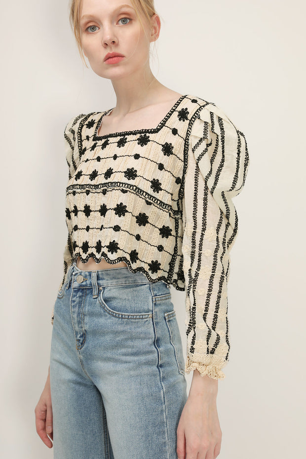 storets.com Amelia Embroidered Cropped Top