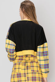 Lynn Cropped Plaid Sweatshirt-2 Colors