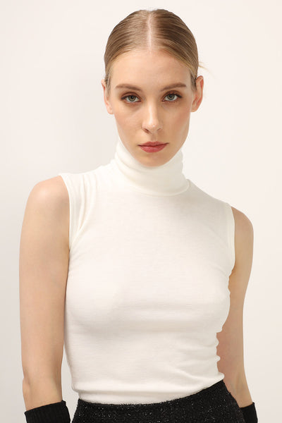 Maya High Neck Sleeveless Top