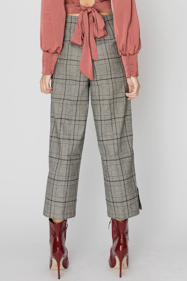 Cheryl Button Up Plaid Pants