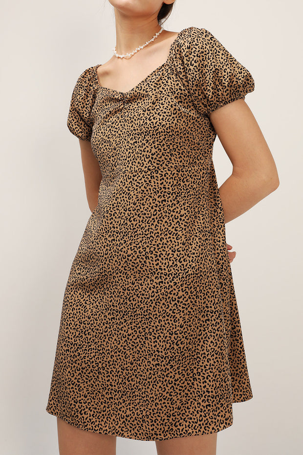storets.com Emma Puff Sleeve Leopard Dress