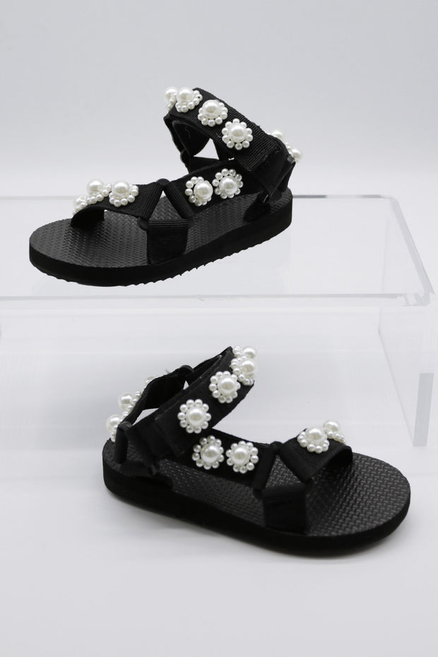 storets.com Pearl Embellished Sandals For Kids