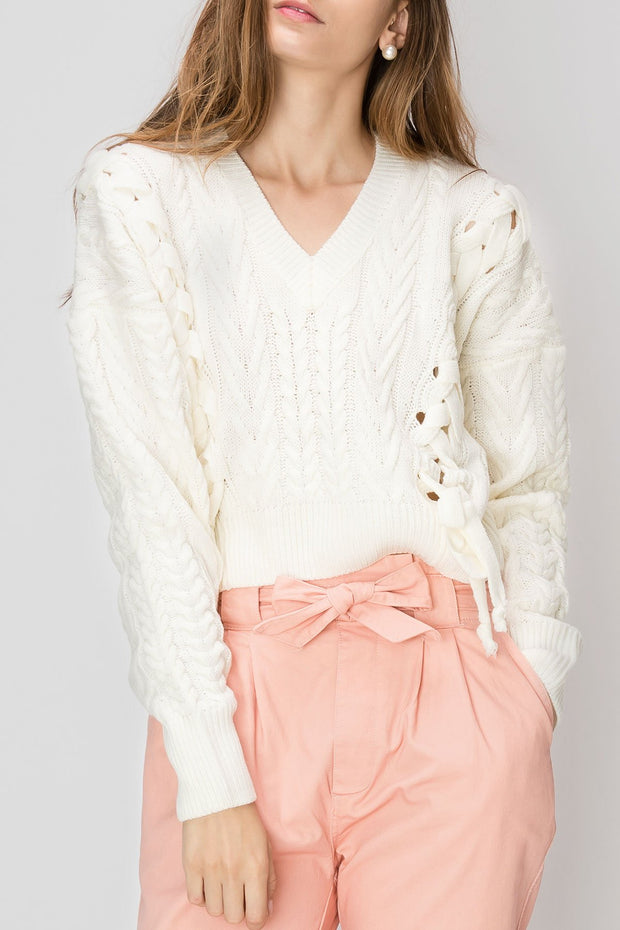 Kiara Lace Up Sweater-2 Colors