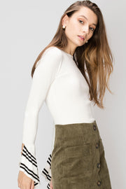 Tereza Striped Sleeve Top