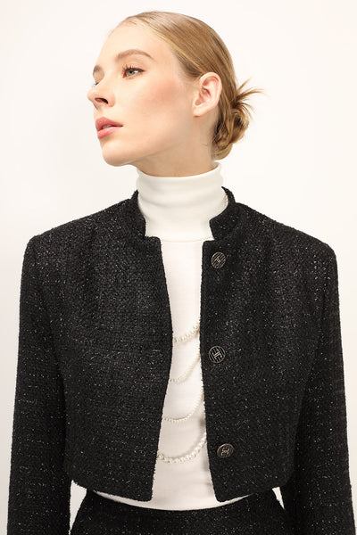 Madeline Stand Collar Tweed Jacket