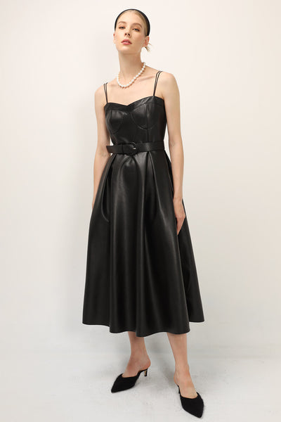 Mila Pleather Pinafore Dress