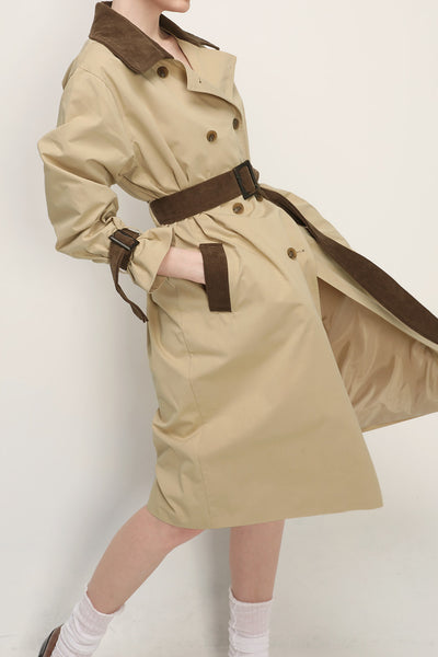 Thea Contrast Collar Trench Coat