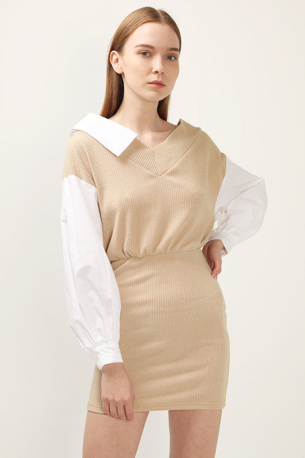 storets.com Della Shirt Combo Knit Dress
